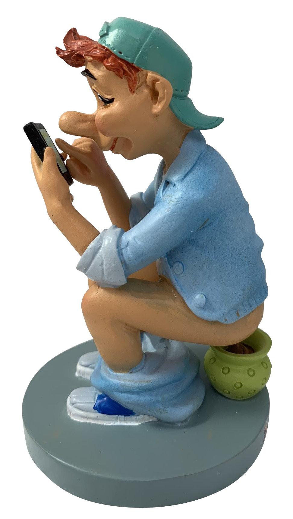 Scheisserchen mit Smartphone, Nachttopf